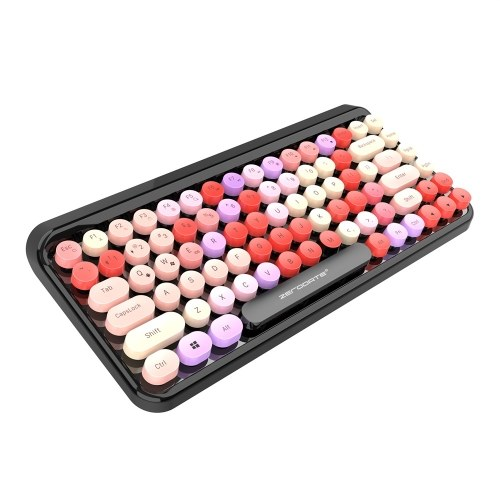 LD-KB203 Wireless BT Punk Keyboard 84 Keys Round Key Cap Mute Color Keyboard for iOS/Mac OS/Windows/Android Multicolor