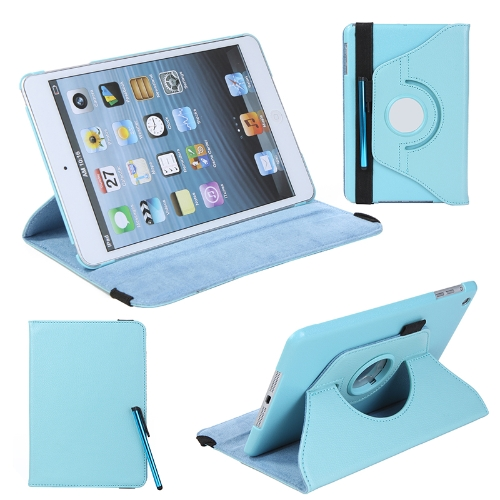 360 Degrees Rotating Protective Leather Case Skin Cover Stand for Apple iPad Mini Blue with Stylus Pen & Screen Protector & Cleaning Cloth