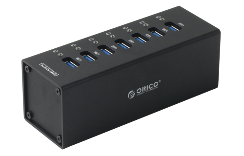 Orico 7 portów USB 3.0 HUB SuperSpeed ​​5Gbps dla Macbook PC Laptop plug and play aluminium czarny