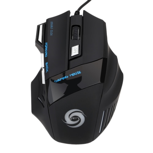 KKmoon  3200 DPI 7 Button 7D LED Optical USB Wired Gaming Mouse Mice for Laptop PC Professional Gamer Adjustable Black