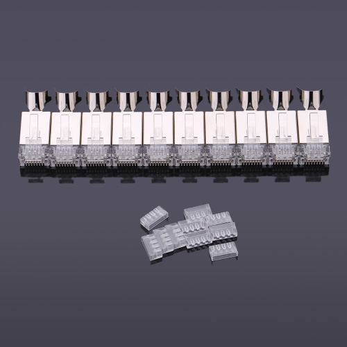 10pcs High-quality Plated Cat7 Crystals RJ45 Network Cable Connector 8P8C Coated Crystal Head with Tail Clamp
