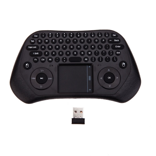 Measy GP800 portátil de Ultra Mini QWERTY 79 teclas Tochpad remoto teclado Controle Wireless 2.4 GHz Air inteligente rato ratos com receptor USB para caixa de TV PC Laptop Tablet Projector
