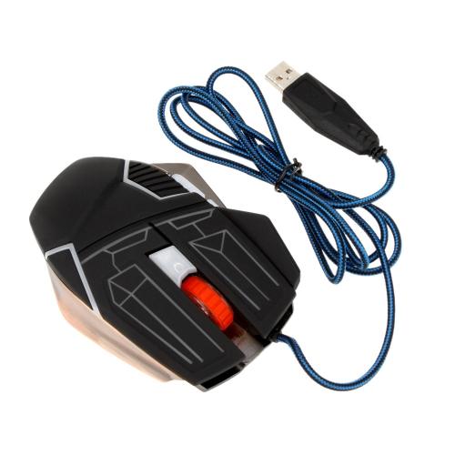 Maks. 3200 DPI 6 przycisków USB optyczny Przewodowe myszki Pro Gamer z myszą myszy z 7 kolorami Oddychanie lekkie tkane nylonowe podstawy metalowe masaż funkcja dla systemu Windows XP Vista Mac OS