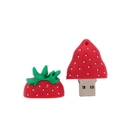 Cute Cartoon Strawberry Style USB 2.0 Flash Storage Drive Popular Fruit U Disk Memory Stick Thumb Pen Drive with Keyhole