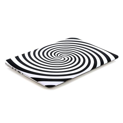 Ultra Cienka Lekka Ciężar Czarna Biała Zebra Okrągła spirala Wzorzec Laptop Ciężka Obudowa powłoki dla Apple Macbook Retina 15 15.4in
