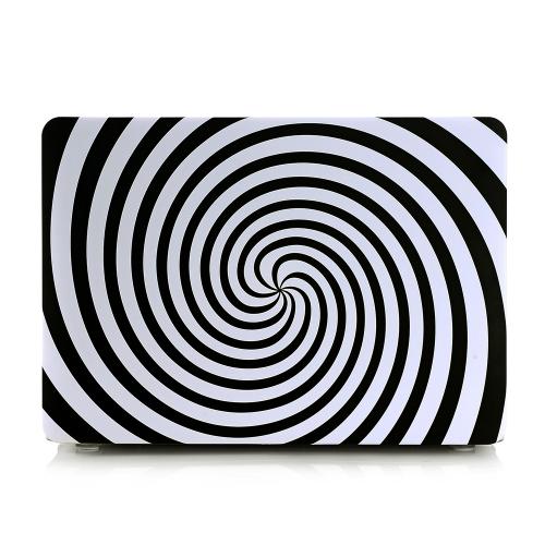 Ultra cienka lekka waga Czarna biała Zebra Okrągła spirala Wzorzec Laptop Ciężka Obudowa powłoki dla Apple Macbook Retina 13 13.3in