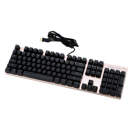 104 Keys USB Wired Gaming Mechanical Keyboard Blue Switch Suspended Button Fully LED Backlit Anti-ghoasting for Laptop Desktop
