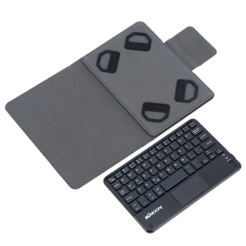 KKmoon 59 Keys Ultra Slim Thin Mini Touch Pad BT Keyboard with Foldable Magnetic Leather Case for Android Windows PC Tablet Smartphone