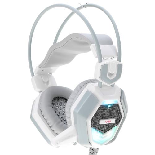 Cyberia Adjustable Over Ear USB i 3.5mm Aux Esport Game Gaming Słuchawki Słuchawki Słuchawki Niskotonowy Stereo z mikrofonem Niski Basy Kolorowe Diody LED Przewodowe dla komputerów PC Komputer Laptop Notebook Notebook