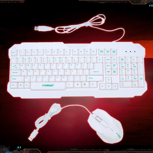 FOREV USB Wired Keyboard & Business Office 3D Optical Mouse Combo Set Zestaw do PC laptop notebook pulpicie
