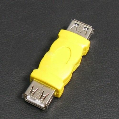 Żółty USB typu A żeńskie do kobiet Adapter Converter