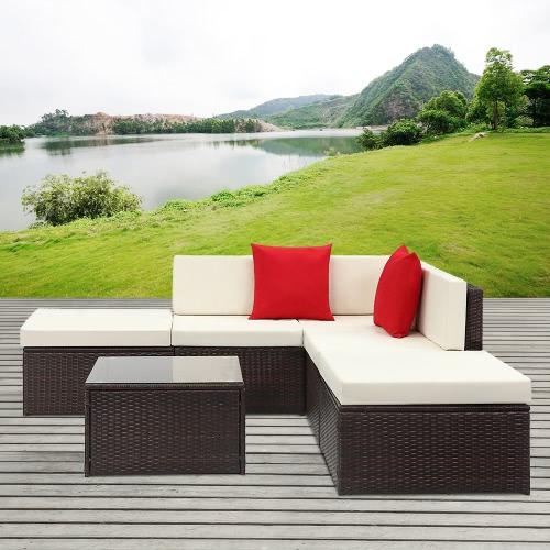 iKayaa 6PCS Rattan Wicker Outdoor Patio Sectional Sofa Set Brown
