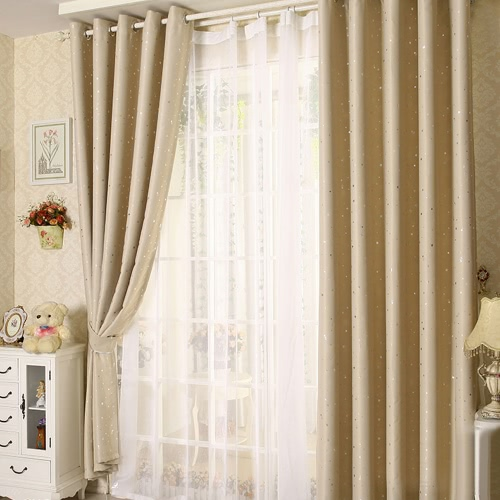 Anself 2PCS 100*250cm Modern Punching Grommet Blackout Curtain Linings Panel Bright Colored Stars Curtains with White   Voile Soft Window Drape Classy Decoration Draperies for Living Room Bedroom Size 39
