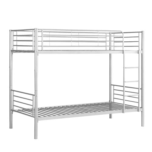 iKayaa Modern Single-Over-Single Metal Bunk Bed Frame With Ladder