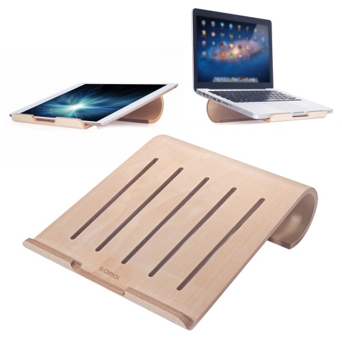 SAMDI Universal Elegant Wooden Cooling Stand Holder Bracket Dock for MacBook Air/Pro Retina iPad Pro Tablet Laptop PC Notebook