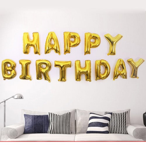 Anself Aluminum Foil Shining Happy Birthday Balloons 13 Letters + Anself Balloons 100 Glue Dots Double-Side Adhesive Tape