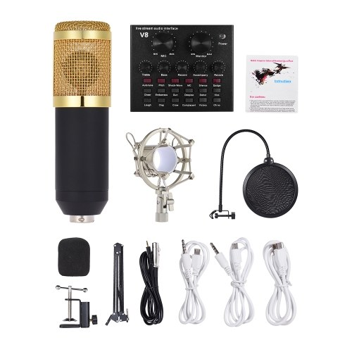 External Audio Mixing Sound Card USB Audio Interface with Multiple Sound Effects Built-in Rechargeable Battery +  Professional Studio Broadcasting Recording Condenser Microphone Mic Kit Set