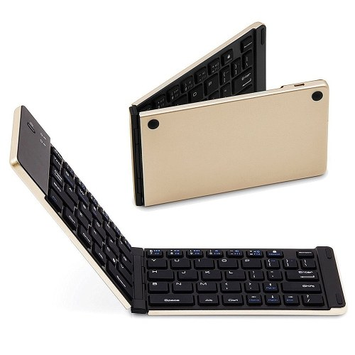 Wireless BT Keyboard Foldable Wireless Keyboard Portable Ultra Slim BT Keyboard for Windows/Android/iOS Gold