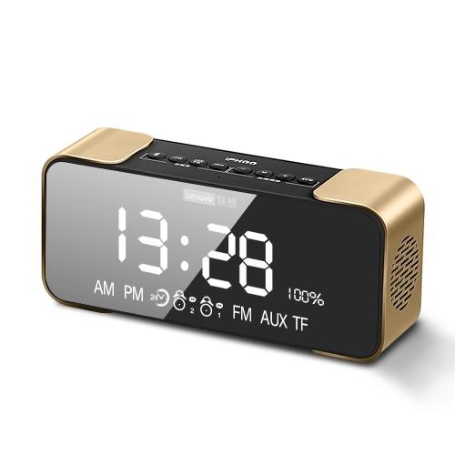 Lenovo L022 Wireless BT-Lautsprecher Tragbarer drahtloser Stereo-Lautsprecher-Subwoofer-Audio-Player mit Doppelalarmanzeige Gold