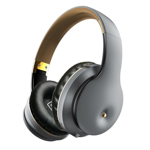 EL-B5 Wireless BT Headphone Folding Portable Stereo Sports Gaming TF/FM/Wired Mode Headset for Phone/Laptop/PC Grey&Gold