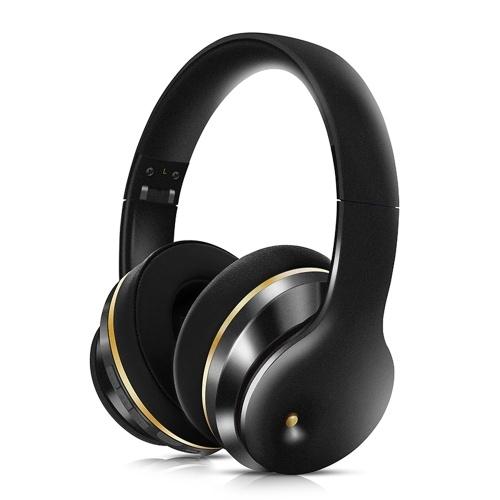 EL528 Wireless BT Kopfhörer Faltbarer Stereo-ANC-Headset Sportspiel TF / FM / Kabelmodus Kopfhörer für Telefon / Laptop / PC Schwarz & Gold