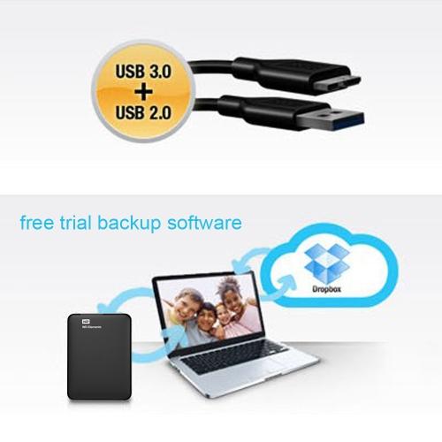 "Western Digital WD Elements 500G USB 3.0 2.5"" Portable External Hard Drive WDBUZG0010BBK"