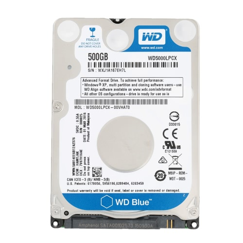 Western Digital WD Azul 500G 7mm Laptop HDD Interno Notebook disco duro