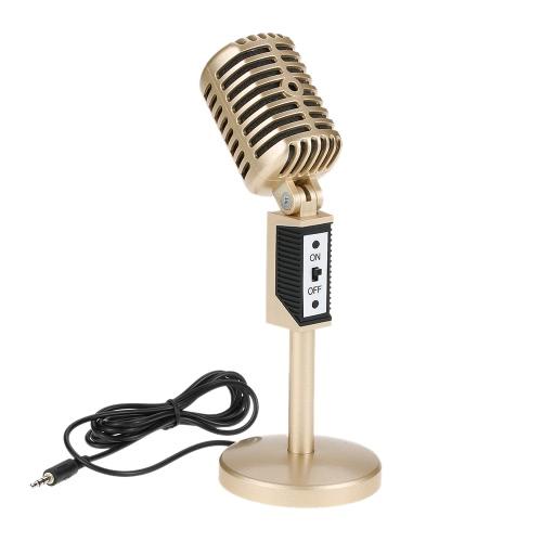 Profesjonalne 3.5mm komputerowy Mikrofon Audio Studio Multimedia Wired Stojak Mic dla Skype / MSN / rozmów online / Mowa / Spotkanie / Śpiew