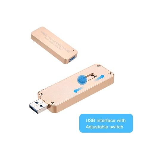 NGFF / M.2 SSD zu USB 3.0 Typ-A tragbarer Festplatten-Einziehbarer externer Gehäuse-Kasten