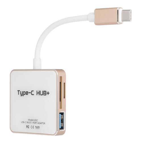 U32C USB-C Hub Multiport Type-C Tipo de adaptador de Hub C Hub de porta de carga com 1 porta USB 3.0 e 2 portas USB 2.0 Leitor de cartão SD / TF para MacBook Silver