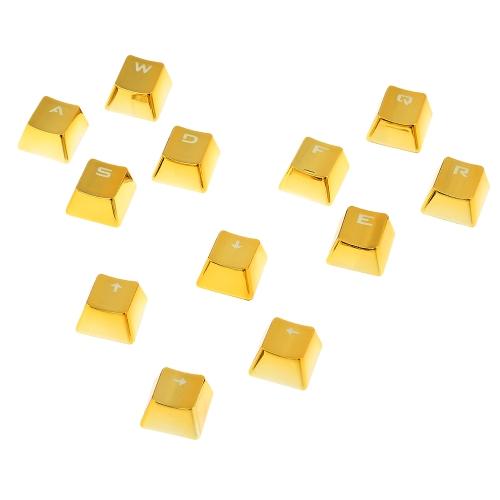 بت كيكاب مزدوجة بالرصاص 12 شفاف الخلفية مفتاح كاب اللون المعدني مع مفتاح بولير لوحات المفاتيح الميكانيكية الذهب