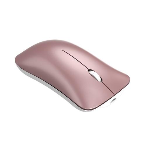 HXSJ T23 Dual Mode Wireless Mouse BT 4.0 2.4G Optical Mouse Ergonomic Rechargeable Mice 1600DPI(Golden)
