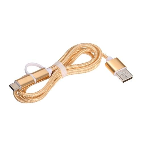 2-in-1-USB-2.0-Stecker auf Typ-C / Micro-USB-Nylon geflochtene Ladekabel