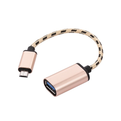 Micro USB OTG Cable Micro USB Male to USB3.0 Adapter Data Transfer Cord for Samsung Xiaomi(Golden)