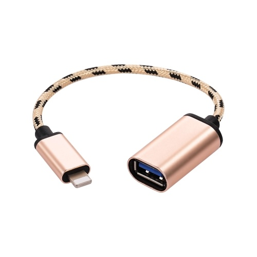 Lightning OTG Cable Lightning Male to USB3.0 Adapter Data Transfer Cord for iPhone(Golden)