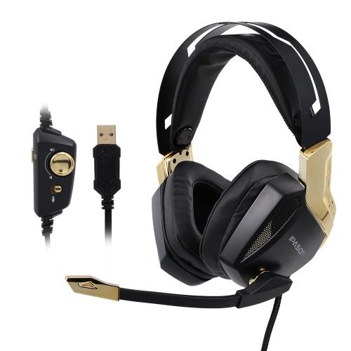 IPASONゲーミングヘッドフォンE-スポーツヘッドセット7.1サウンドトラックステレオUSBサウンドカードとカラフルなライト(ゴールド)