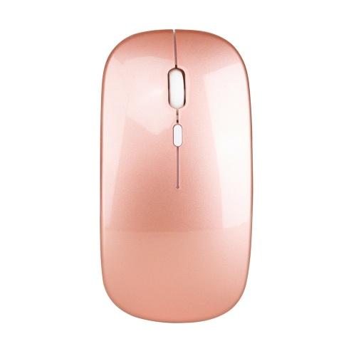 HXSJ Беспроводная мышь 2.4G Ультратонкая бесшумная мышь Портативная и гладкая мышка перезаряжаемая мышь 10м / 33 фута Беспроводная передача (розовое золото)