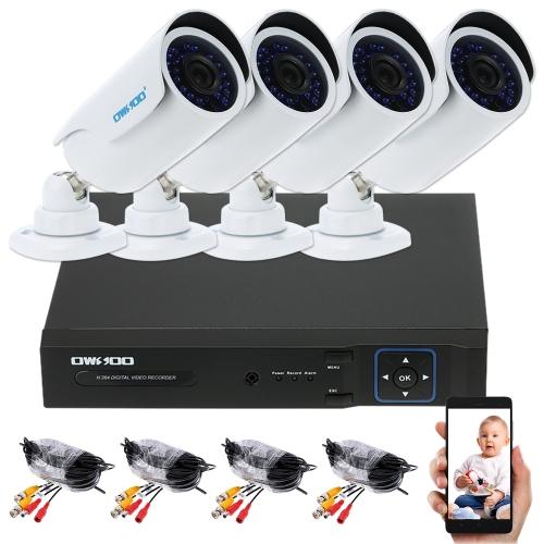 OWSOO 4CH Kanal Voll AHD 1080N / 720P 1500TVL CCTV Überwachung DVR Sicherheitssystem