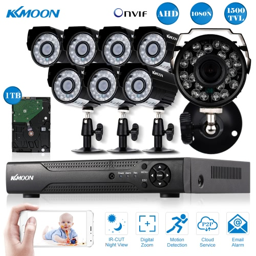KKmoon® 8CH Channel Full AHD 1080N/720P 1500TVL CCTV Surveillance DVR Security System HDMI P2P Cloud Onvif Network Digital Video Recorder + 1TB Hard Drive + 8*720P Outdoor/Indoor Infrared Bullet Camera + 8*60ft Cable support IR-CUT Filter Infrared Night Vision Weatherproof Plug and Play Android/iOS APP PC CMS Browser View Motion Detection Email Alarm