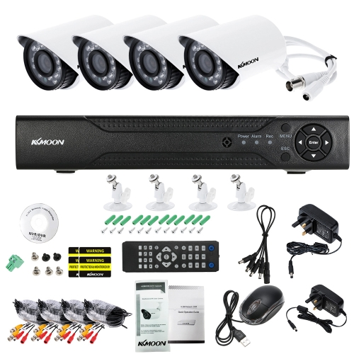KKmoon 4CH Kanal Volle 1080N AHD DVR HVR NVR + 4 * 1500TVL Wasserdichte CCTV Kugelkamera + 4 * 60ft Überwachungskabel