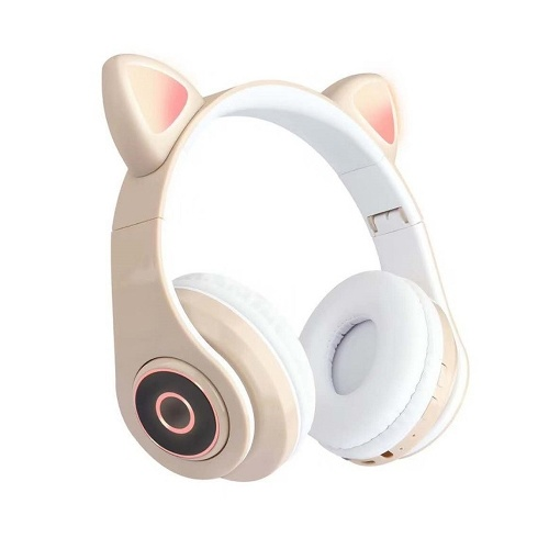 B39 Cute Cat Ear Headset Wireless BT5.0 Cuffie da gioco pieghevoli con luci Flash RGB Auricolare TF Card Play / Modalità cablata Khaki