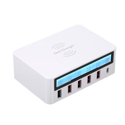 Интеллектуальная зарядная станция с 6 портами ЖК-док-станция для зарядки USB Беспроводное зарядное устройство с универсальной зарядной станцией для семейного и офисного использования