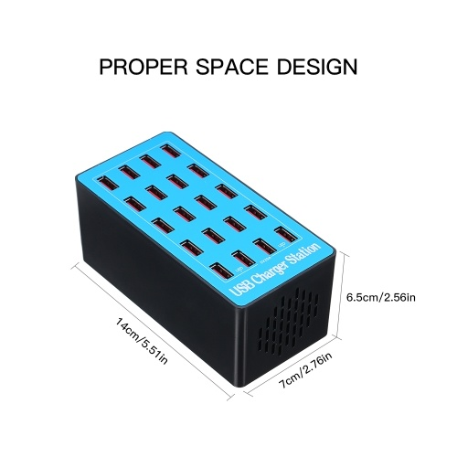 USB Smart Charger with 20 Ports Power Adapter of Universal Compatibility Charging Station for Family