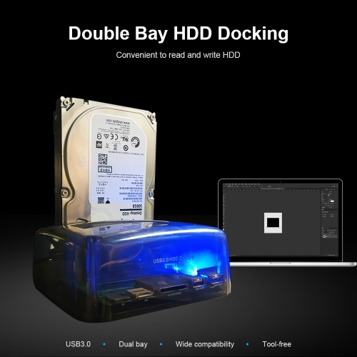 Hard Drive Docking Station USB 3.0 to 2.5/3.5inch SATA Hard Disk Case Dual Bay HDD SSD Fast Speed Tool-free Installation