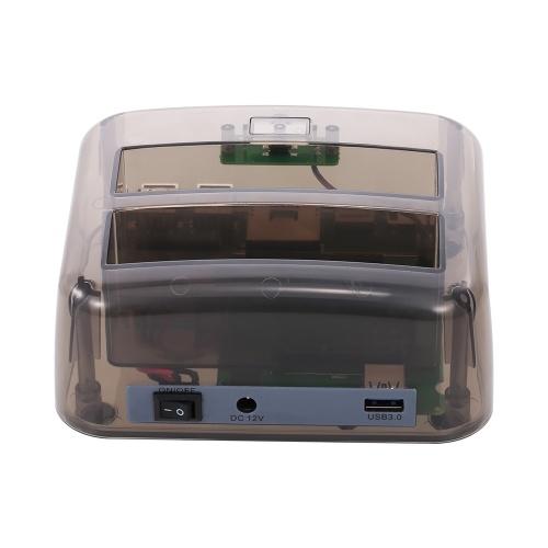 Unidad de acoplamiento de disco duro USB 3.0 a 2.5 / 3.5 pulgadas SATA Estuche de disco duro Dual Bay HDD SSD Instalación sin herramientas de velocidad rápida
