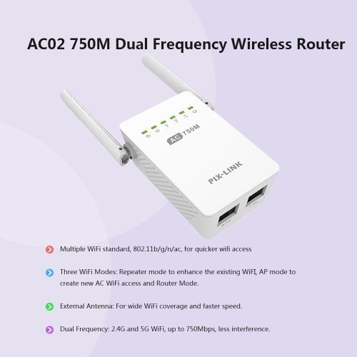 AC02 Dual Band 2.4GHz/5GHz 750Mbps Wifi Repeater