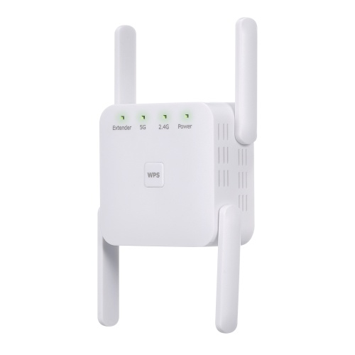 1200Mbps 2.4G 5G Dual Frequency WiFi Repeater WiFi Extender Wireless Signal Booster White for Home Office Use UK Plug