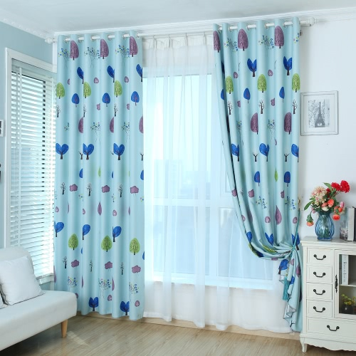 Anself 2PCS 100*250cm Punching Grommet Blackout Curtain Linings Panel Bright Colored Trees Curtains with Curtain Voile   Soft Window Drape Classy Decoration Draperies for Living Room Bedroom Size 39