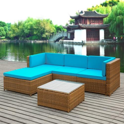 iKayaa Fashion PE Rattan Wicker Patio Garden Furniture Sofa Set W/ Cushions Outdoor Corner Sofa Couch Table Set