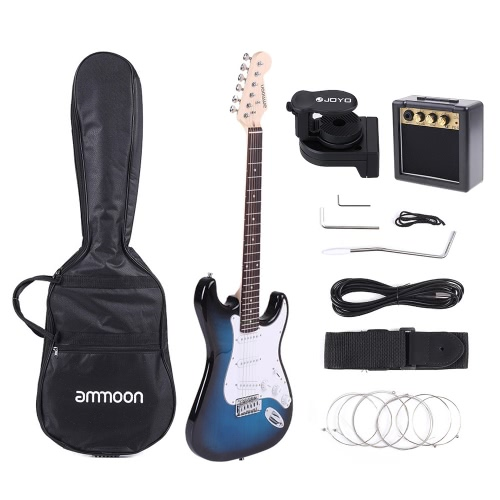 ammoon Full Size Electric Guitar Set with JOYO JT-306 Digital LCD Clip-on Tuner Amplifier Gig Bag Strap Strings Cable